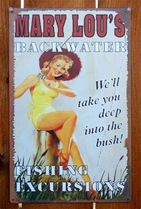 Mary Lou's Backwater Fishing Excursions Tin Metal Sign Pin